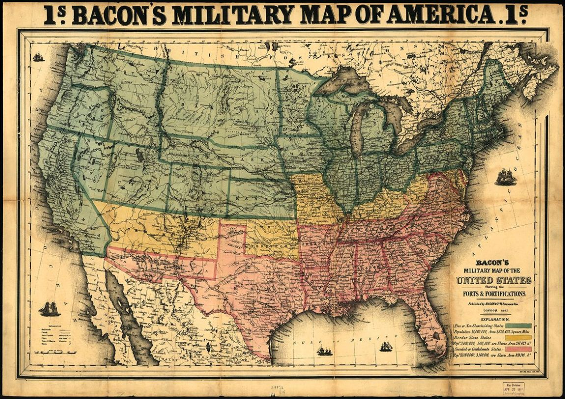 Bacon's Military Map of the United States Showing the Forts & Fortifications. Print/Poster (4852)